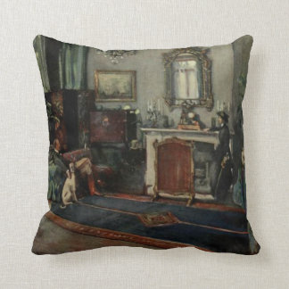 Old 1800s Living Room Vintage Artwork Throw Pillow