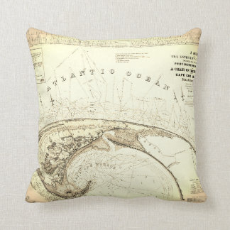 Old (1833) Map of Provincetown Truro Throw Pillow