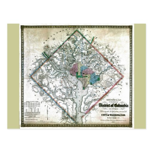 Old 1862 Washington District of Columbia Map Postcard