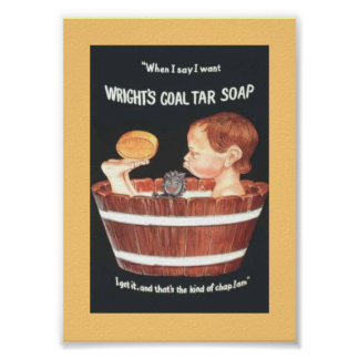 Old 1920 Wright's Coal Tar Soap Ad Boy in Wash Tub Poster