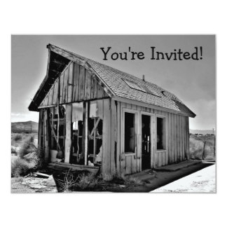Old abandoned and detroyed shack invitations