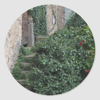 Old abandoned country homestead in the woods classic round sticker