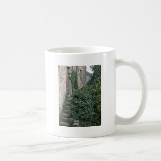 Old abandoned country homestead in the woods coffee mug