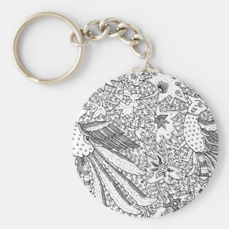 Old Abstract Textile Nature Pattern Keychain