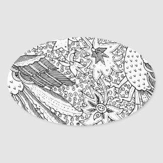 Old Abstract Textile Nature Pattern Oval Sticker