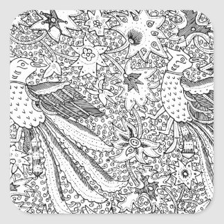Old Abstract Textile Nature Pattern Square Sticker