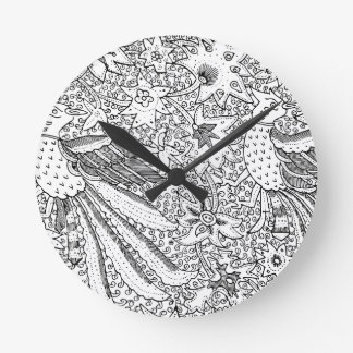Old Abstract Textile Nature Pattern Wallclock