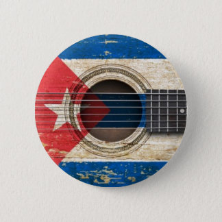Old Acoustic Guitar with Cuban Flag 2 Inch Round Button