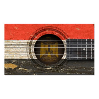 Old Acoustic Guitar with Egyptian Flag Business Card Template