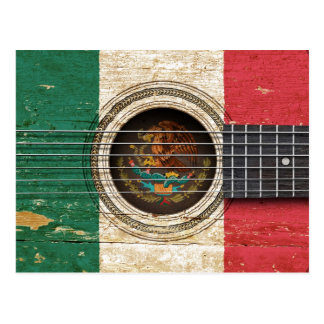 Old Acoustic Guitar with Mexican Flag Postcard