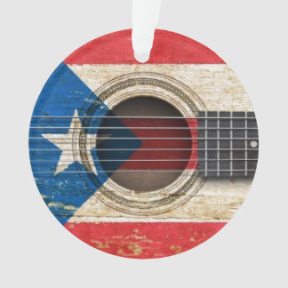 Old Acoustic Guitar with Puerto Rico Flag Ornament