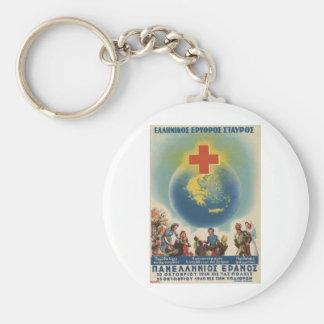 Old Advert Greece Greek Red Cross Basic Round Button Keychain