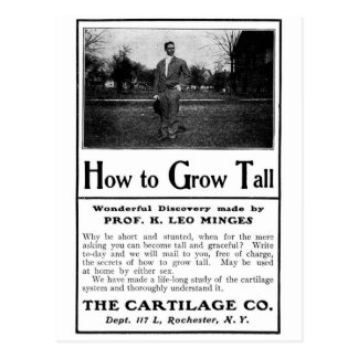 Old Advert How to Grow Tall Postcard