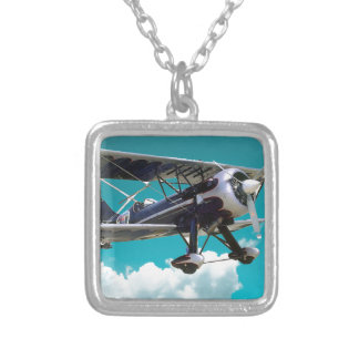 Old Airplane Silver Plated Necklace