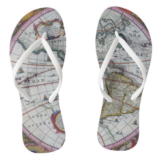 Old America Maps Flip Flops