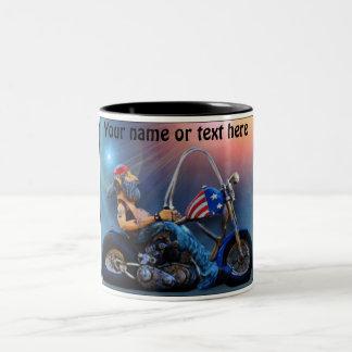 Old American Biker Two-Tone Coffee Mug
