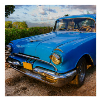 Old American classic car in Trinidad, Cuba Poster