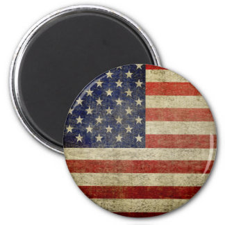 Old American Flag 2 Inch Round Magnet