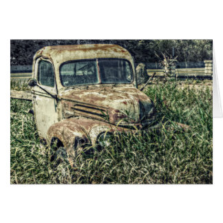 Old Antique Beater Truck in Grass Card