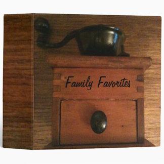Old Antique Coffee Grinder Kitchen Recipe Cookbook Vinyl Binder
