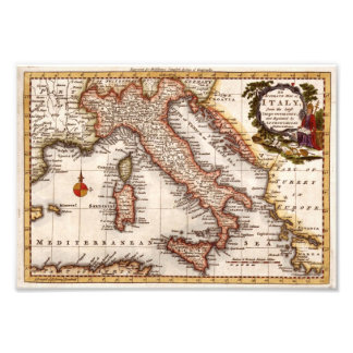 Old Antique Map of Italy replica Photo