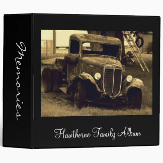 Old Antique Truck in Sepia Family Photo Album 3 Ring Binder