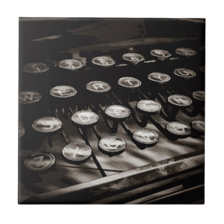 Old Antique Typewriter Keys Black White Tile