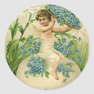 Old Antique Vintage Easter greetings Classic Round Sticker