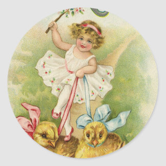 Old Antique Vintage Happy Easter wish greetings Classic Round Sticker
