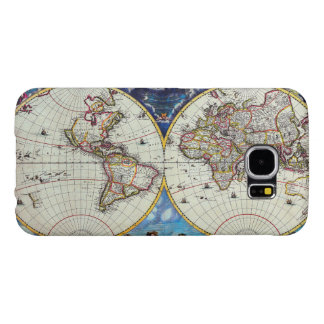 Old Antique Vintage Map of Known World Circa 1630 Samsung Galaxy S6 Cases