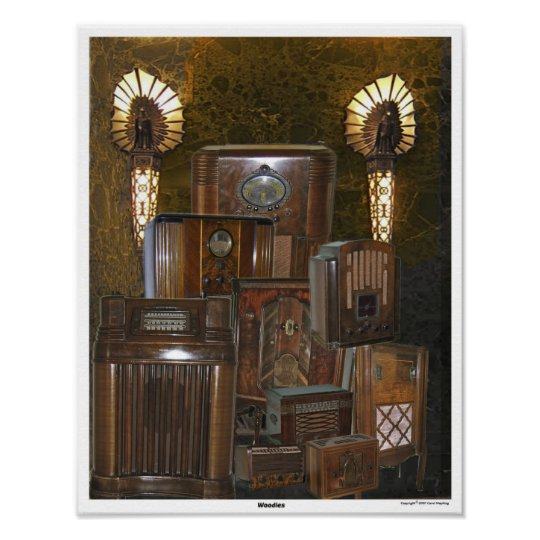 Old / Antique Wooden Radio Poster Collage