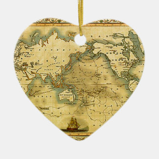 Old Antique World Map Ceramic Heart Ornament