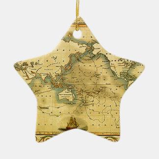 Old Antique World Map Ceramic Star Ornament