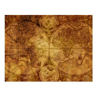 Old Antique World Map Historical Postcard
