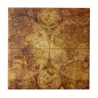 Old Antique World Map Historical Tile
