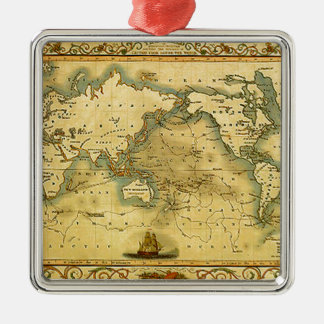 Old Antique World Map Silver-Colored Square Ornament