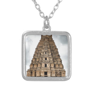 old asian castle silver plated necklace