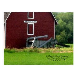 Old Barn and Farm Equipment Postcard