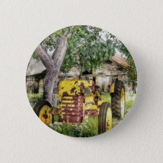 Old Barn And Tractor 2 Inch Round Button