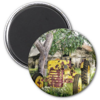 Old Barn And Tractor 2 Inch Round Magnet