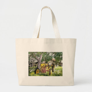Old Barn And Tractor Large Tote Bag