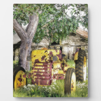 Old Barn And Tractor Plaque