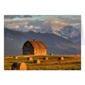 Old barn framed by hay bales and dramatic card
