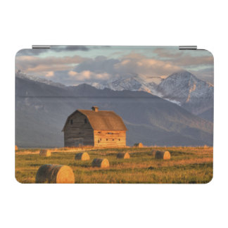 Old barn framed by hay bales and dramatic iPad mini cover
