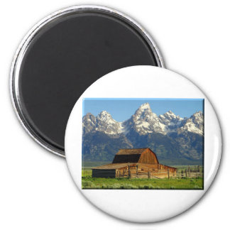 Old Barn Grand Tetons 2 Inch Round Magnet