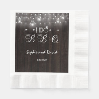 Old Barn Mason Jars String Lights I DO BBQ Paper Napkin