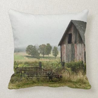 Old Barn Michigan Countryside Throw Pillow