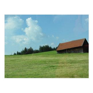 Old Barn On a Hillside Postcard