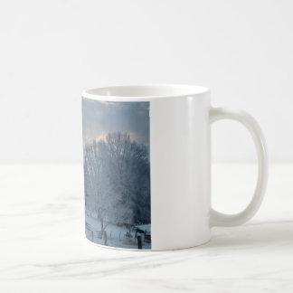 Old Barn on Snow Covered Hillside Coffee Mug