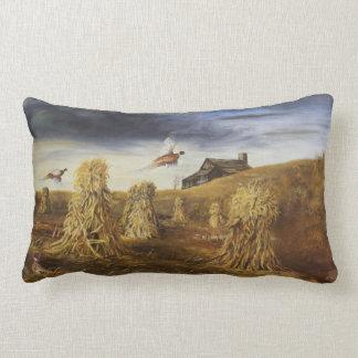 Old barn & pheasants Lumbar Pillow